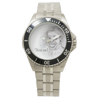 Kiss me! Pencil drawing black and white Design Watches