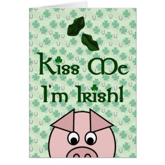Kiss Me Pig St Patricks Day Card