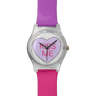 KISS ME Pink Purple Candy Heart Valentine's Watch