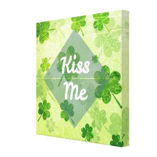 Kiss Me Shamrock Canvas Print