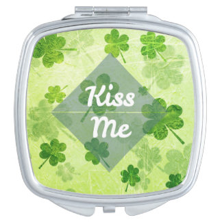 Kiss Me Shamrock Compact Mirror