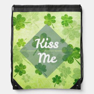 Kiss Me Shamrock Drawstring Bag