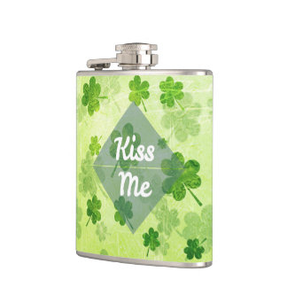 Kiss Me Shamrock Hip Flask