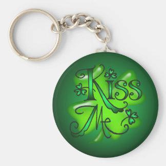 KISS ME SHAMROCKS by SHARON SHARPE Basic Round Button Keychain