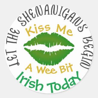 Kiss Me Shenanigans St Patricks Stickers