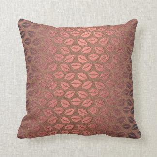 Kiss Mouth Pink Rose Faux Metallic Gold 3D Throw Pillow