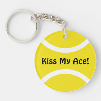 Kiss my ace tennis ball keychain | Personalizable
