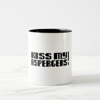 Kiss my Aspergers! (Autism Awarness Month) Two-Tone Coffee Mug