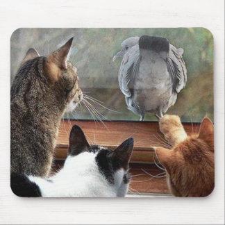 Kiss My Feathery Butt Bird with Kittys Mousepad