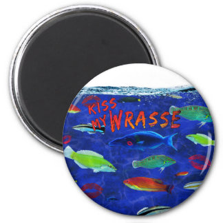 Kiss My Wrasse Fish 2 Inch Round Magnet