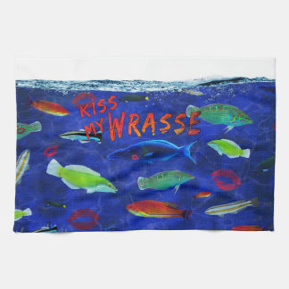 Kiss My Wrasse Fish Hand Towels