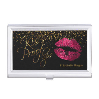 Kiss Proof Hot Pink Glitter Lips and Gold Confetti Business Card Holder
