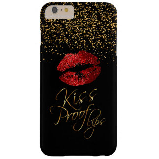 Kiss Proof with Gold Confetti & Red Lips Barely There iPhone 6 Plus Case