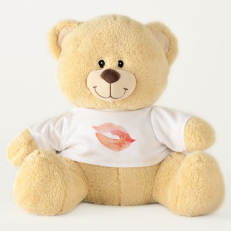 Kiss Red Lips Watercolor Teddy Bear