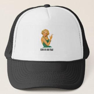 kiss the ash tray fun trucker hat