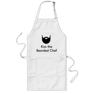 Kiss the Bearded Chef - white apron