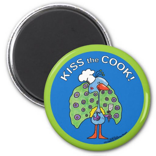 Kiss the Cook! circle Refrigerator Magnet