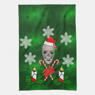 Kiss The Santa Skull Kitchen Towel