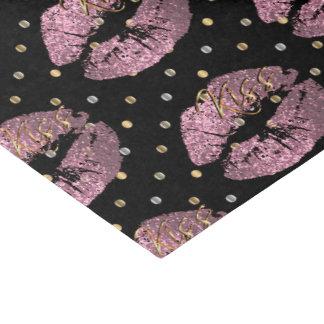 Kissable Pink Glitter Lips Tissue Paper