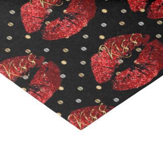 Kissable Red Glitter Lips Tissue Paper