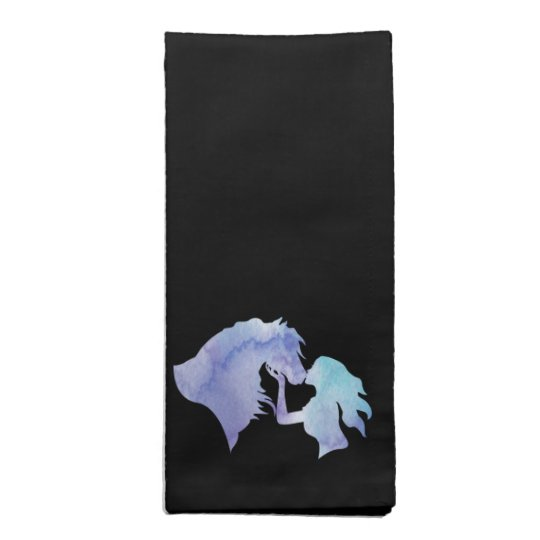 Kissed: Watercolor Horse and Girl Cloth Napkins
