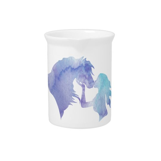 Kissed: Watercolor Horse and Girl Pitcher