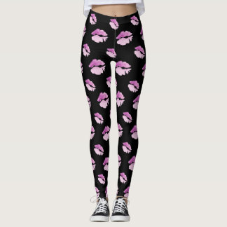 Kisses, all over pink purple kiss pattern leggings