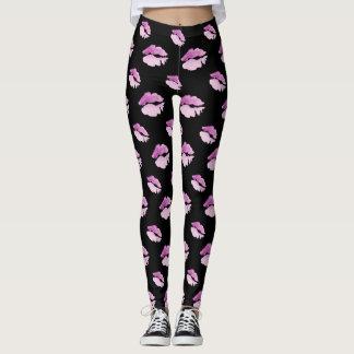 Kisses, all over pink purple kiss pattern Leggings