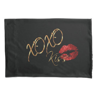 Kisses and Hugs Red Glitter Lips Pillowcase