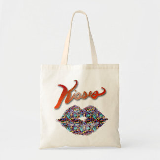 Kisses and lips tote bag