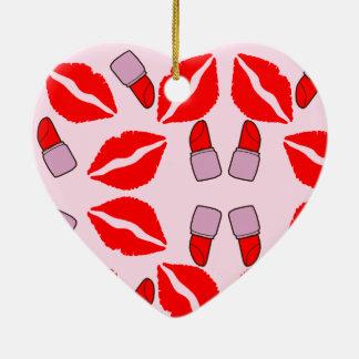 kisses and lipsticks ceramic ornament
