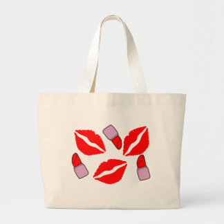 kisses and lipsticks large tote bag