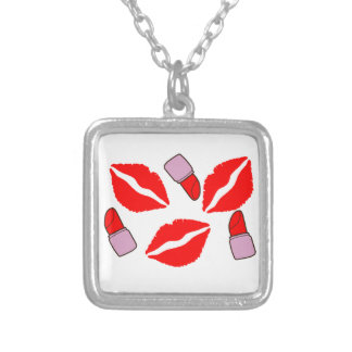 kisses and lipsticks silver plated necklace