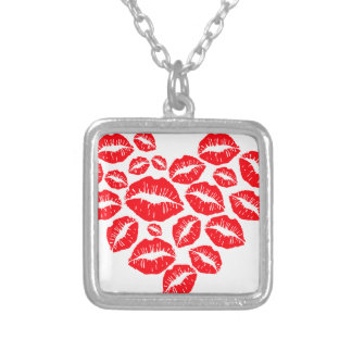 kisses and love heart silver plated necklace