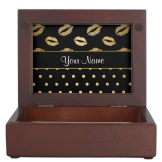 Kisses and Polka Dots Black and Gold Keepsake Box