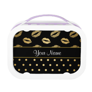Kisses and Polka Dots Black and Gold Lunch Box