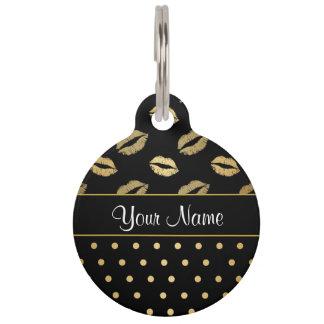 Kisses and Polka Dots Black and Gold Pet Tag