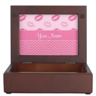 Kisses and Zig Zags Pink and White Keepsake Box