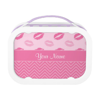 Kisses and Zig Zags Pink and White Lunch Box