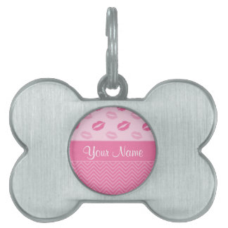 Kisses and Zig Zags Pink and White Pet Name Tag