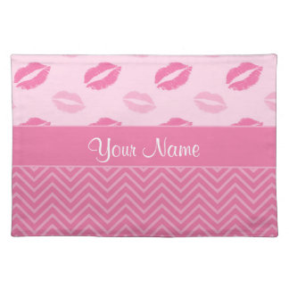 Kisses and Zig Zags Pink and White Placemat