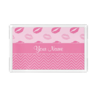 Kisses and Zig Zags Pink and White Serving Tray