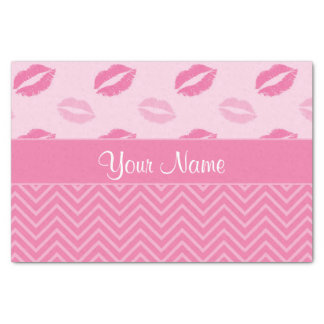 Kisses and Zig Zags Pink and White Tissue Paper