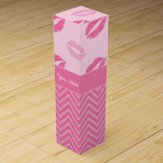 Kisses and Zig Zags Pink and White Wine Box