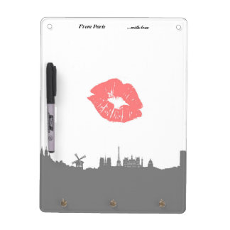 Kisses cherished! Dry Paris erase board & key