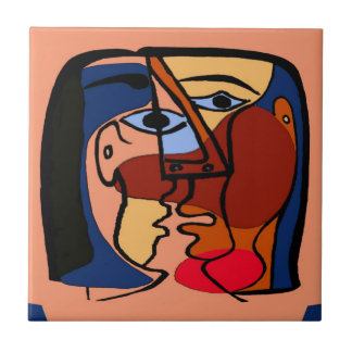 Kisses Cubism Abstract Tile