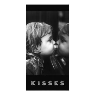 Kisses, Girl Kissing Her Reflection B&W Card