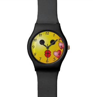 Kisses smiley wrist watch