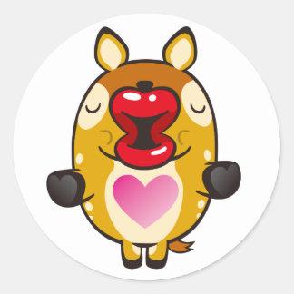 kissing bambi round sticker