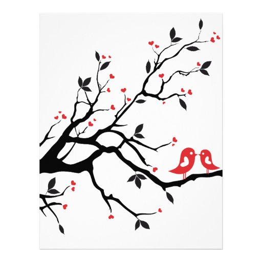 Kissing bird on tree branch with red heart leaves letterhead
